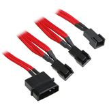 BitFenix Molex zu 3x 3-Pin Adapter 20cm - sleeved rot/schwarz