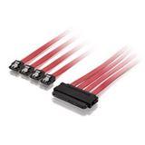 0.50m Equip SAS Adapterkabel SFF-8484 Stecker auf 4xSATA Stecker Rot/Schwarz