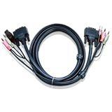 (€11,64*/1m) 3.00m ATEN Technology KVM Anschlusskabel DVI 18+1 Stecker + USB A + 2x3.5mm auf DVI 18+1 Stecker + USB B + 2x3.5mm Schwarz