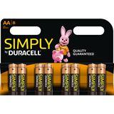 Duracell Simply LR6 Alkaline AA Mignon Batterie 1.5 V 8er Pack