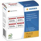 Herma 4832 weiß rot Anlagenummern 1.5x2.2 cm (1000 Stück)
