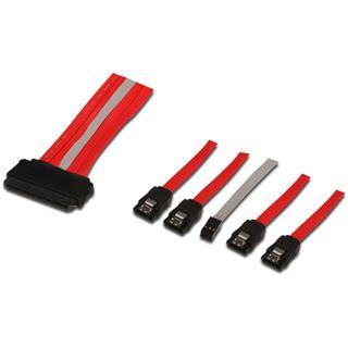 1.00m Good Connections SAS 3Gb/s Anschlusskabel SFF-8484 Stecker auf 4xSATA Stecker + 6pol. LED Buchse Rot
