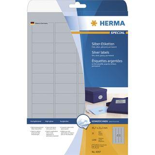 Herma 4097 matt silber Universal-Etiketten 4.57x2.12 cm (25 Blatt (1200 Etiketten))
