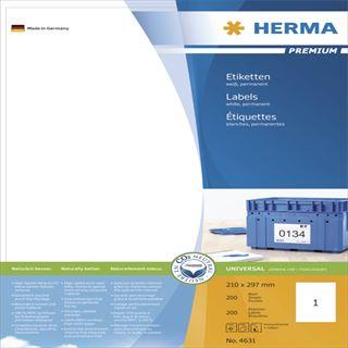 Herma 4631 Premium Universal-Etiketten 21.0x29.7 cm (200 Blatt (200 Etiketten))