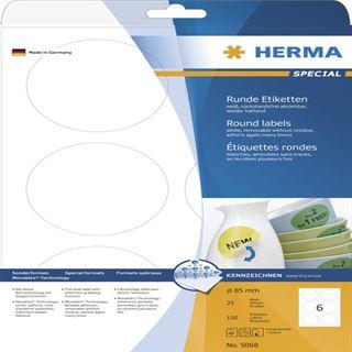 Herma 5068 rund ablösbar Universal-Etiketten 8.5x8.5 cm (25 Blatt (150 Etiketten))