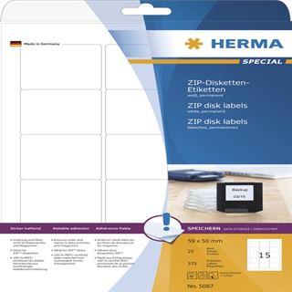 Herma 5087 ZIP-Disk-Etiketten 5.9x5.0 cm (25 Blatt (375 Etiketten))