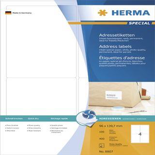 Herma 8807 Inkjet-Etiketten 13x4 cm (100 Blatt (400 Etiketten))