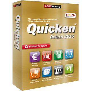Lexware Quicken Deluxe 2015 32/64 Bit Deutsch Finanzen Vollversion PC (CD)