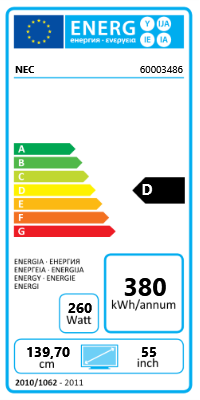 "55"" (139,70cm) NEC MultiSync E554 schwarz 1920x1080 3xHDMI 1.3/1xVGA/Component-Eingang (Y/Pb/Pr)"